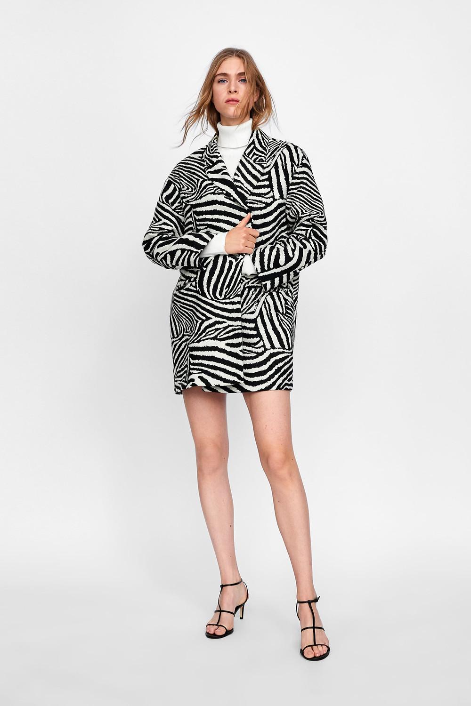 Zara Oversized Blazer in Zebra Print Jacquard $119
