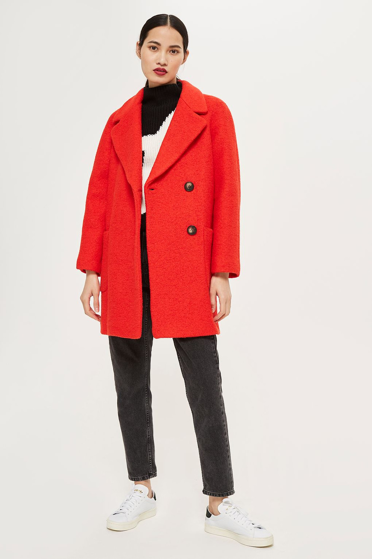 Topshop Seamed Boucle Coat $160