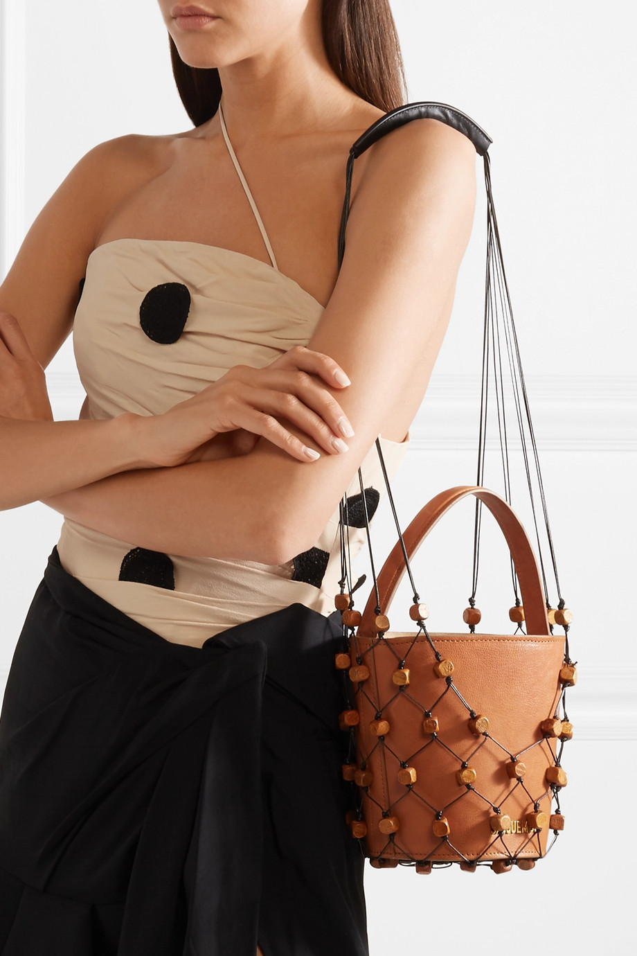 Jacquemus Maracasau convertible leather and macramé shoulder bag $621