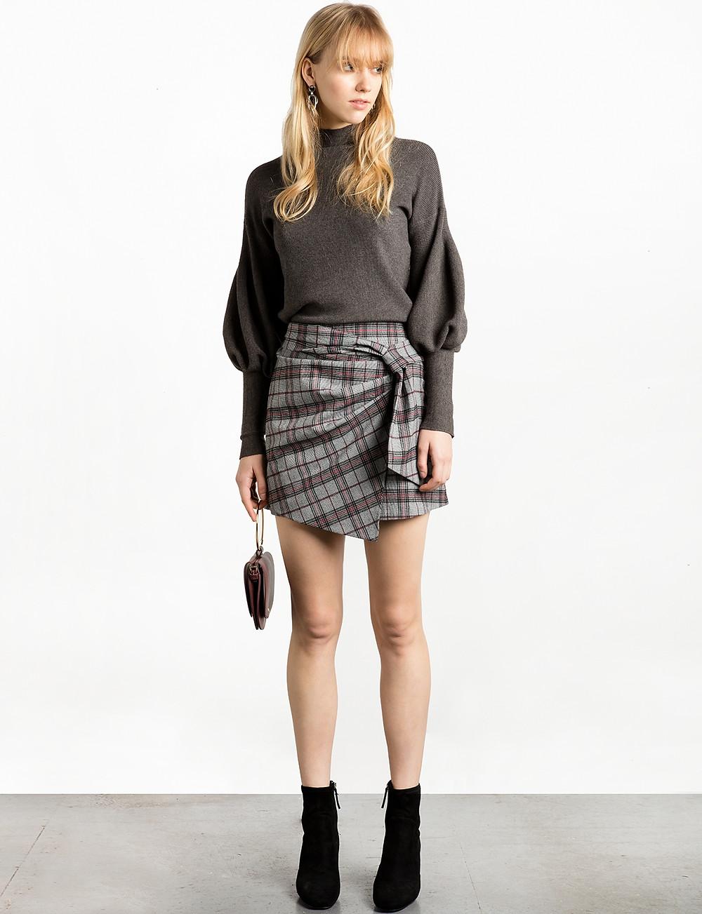 Pixie Market Grey Check Wrap Mini Skirt $78
