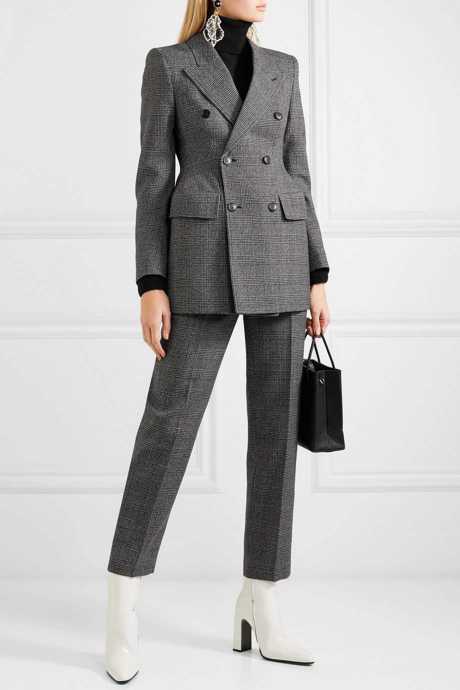Balenciaga Hourglass Prince of Wales checked wool blazer with internal shoulder pads $2,990