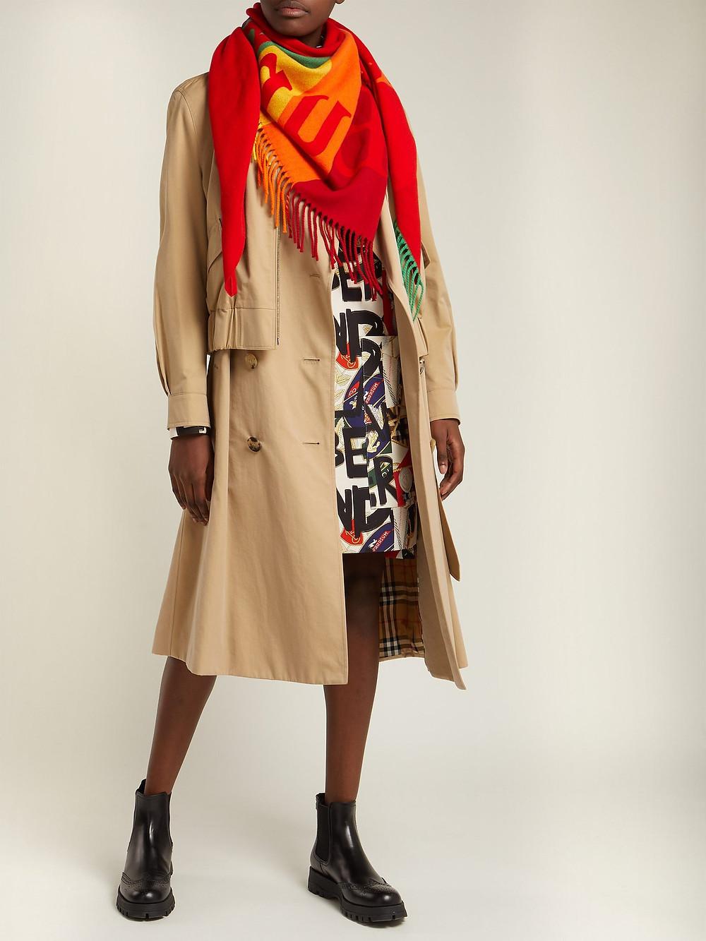 Burberry Logo-intarsia wool-blend scarf $490