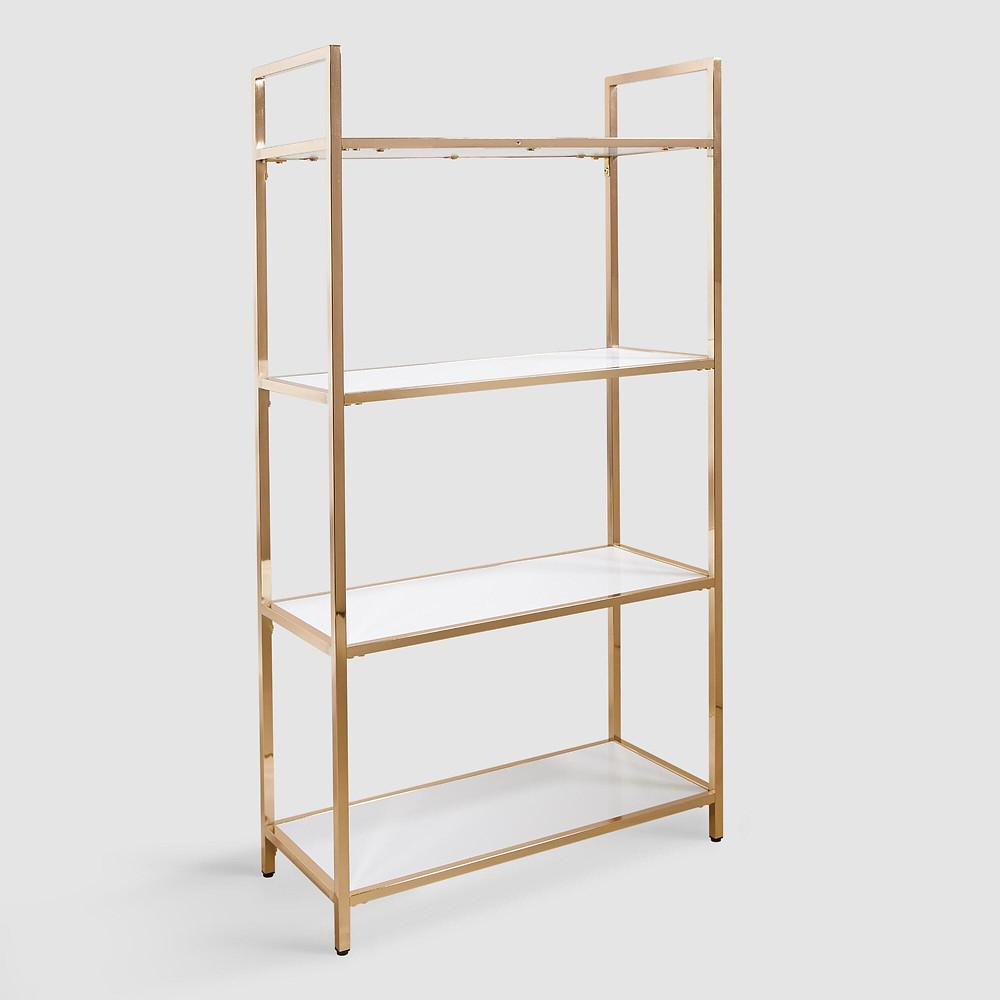 White And Gold Reid Bookshelf $429.99