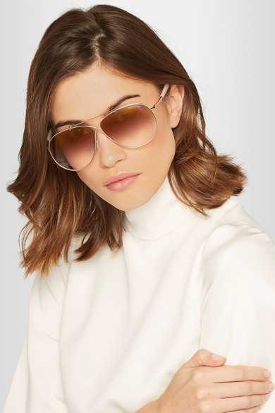 Tom Ford Eva aviator-style rose gold-tone sunglasses $435