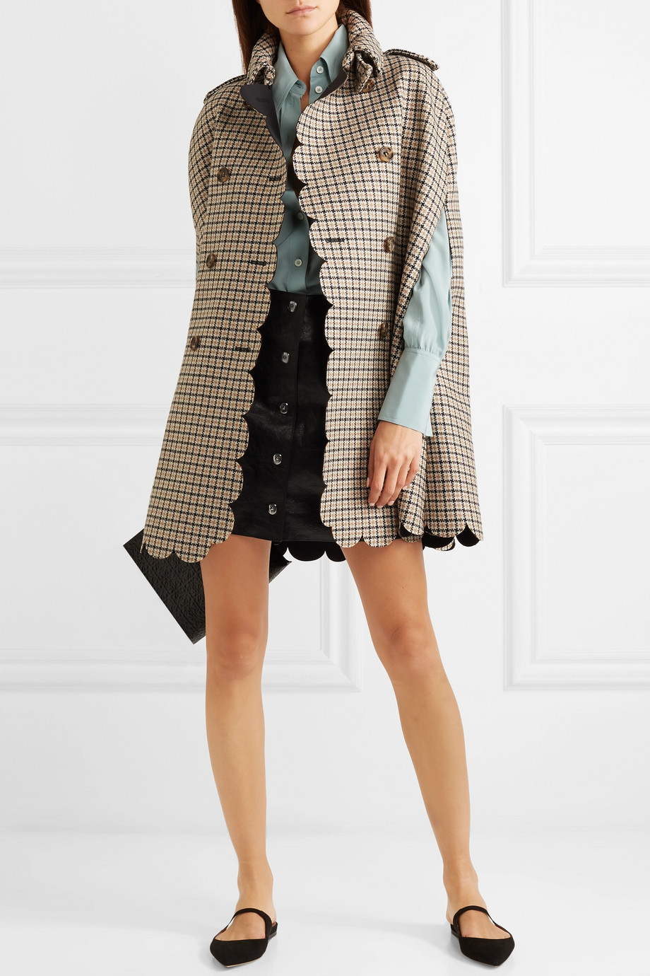 Red Valentino Scalloped checked wool-blend cape $1,195