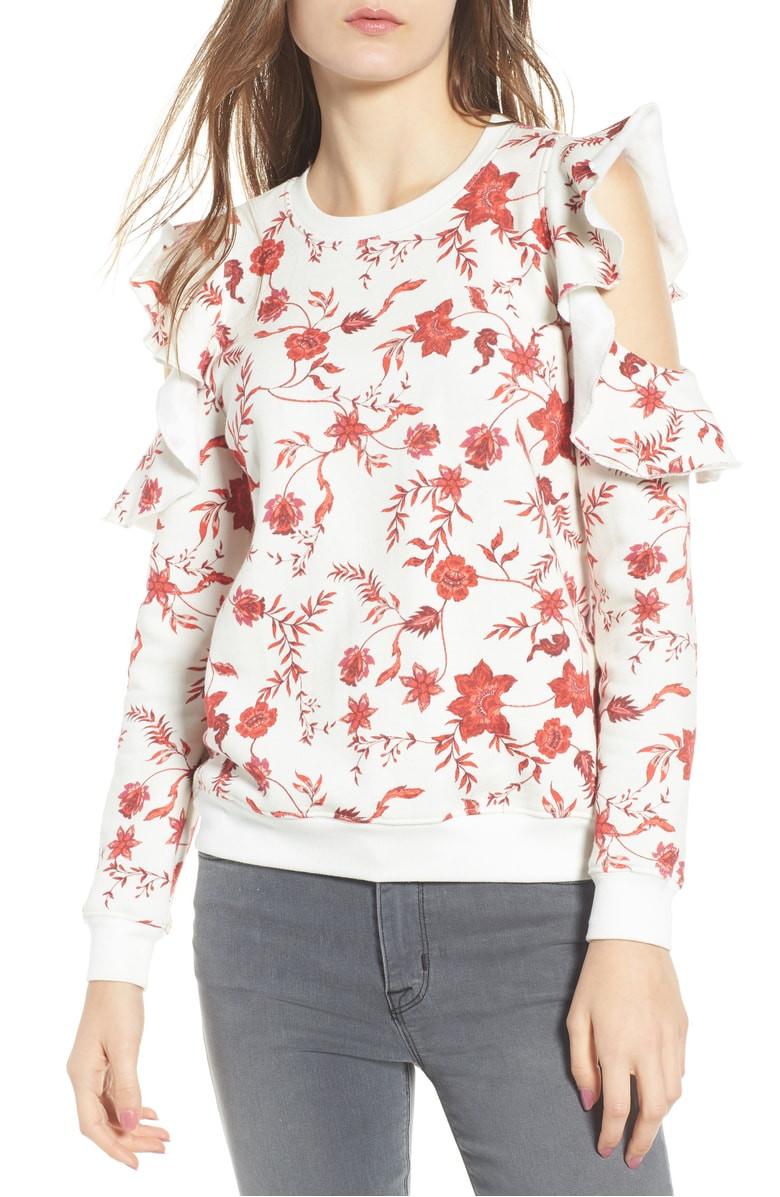 Rebecca Minkoff Gracie Cold Shoulder Floral Sweatshirt $64.90
