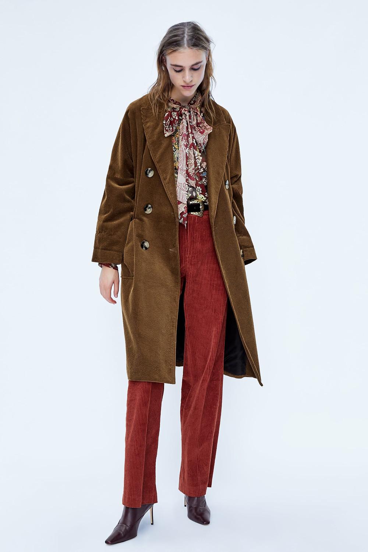 Zara Double-Breasted Corduroy Coat $149