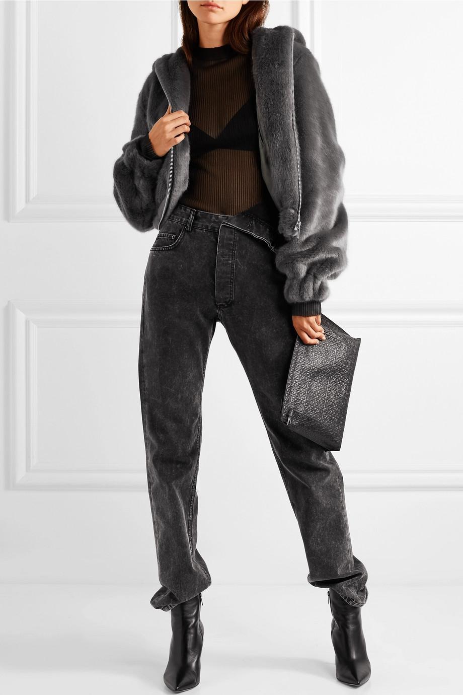 Helmut Lang Hooded faux fur bomber jacket $695