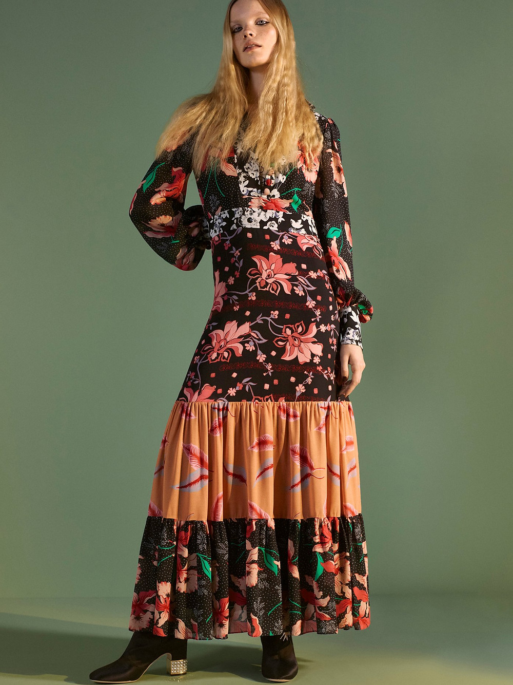 Gucci Floral patchwork-print stand-collar crepe dress $4,300