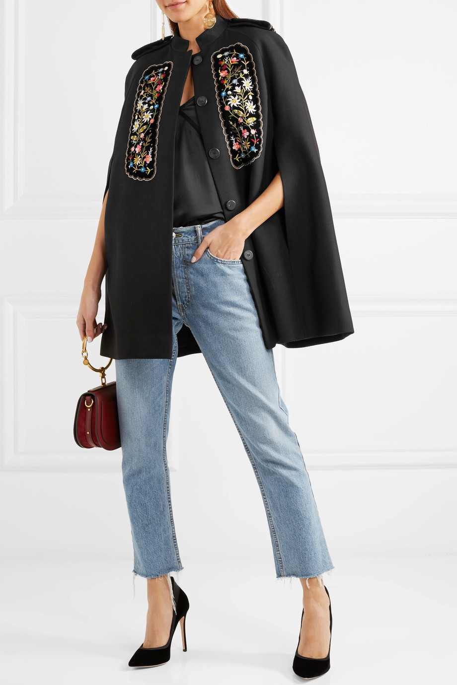 Vilshenko Eugenia embroidered velvet-paneled twill cape $1,645
