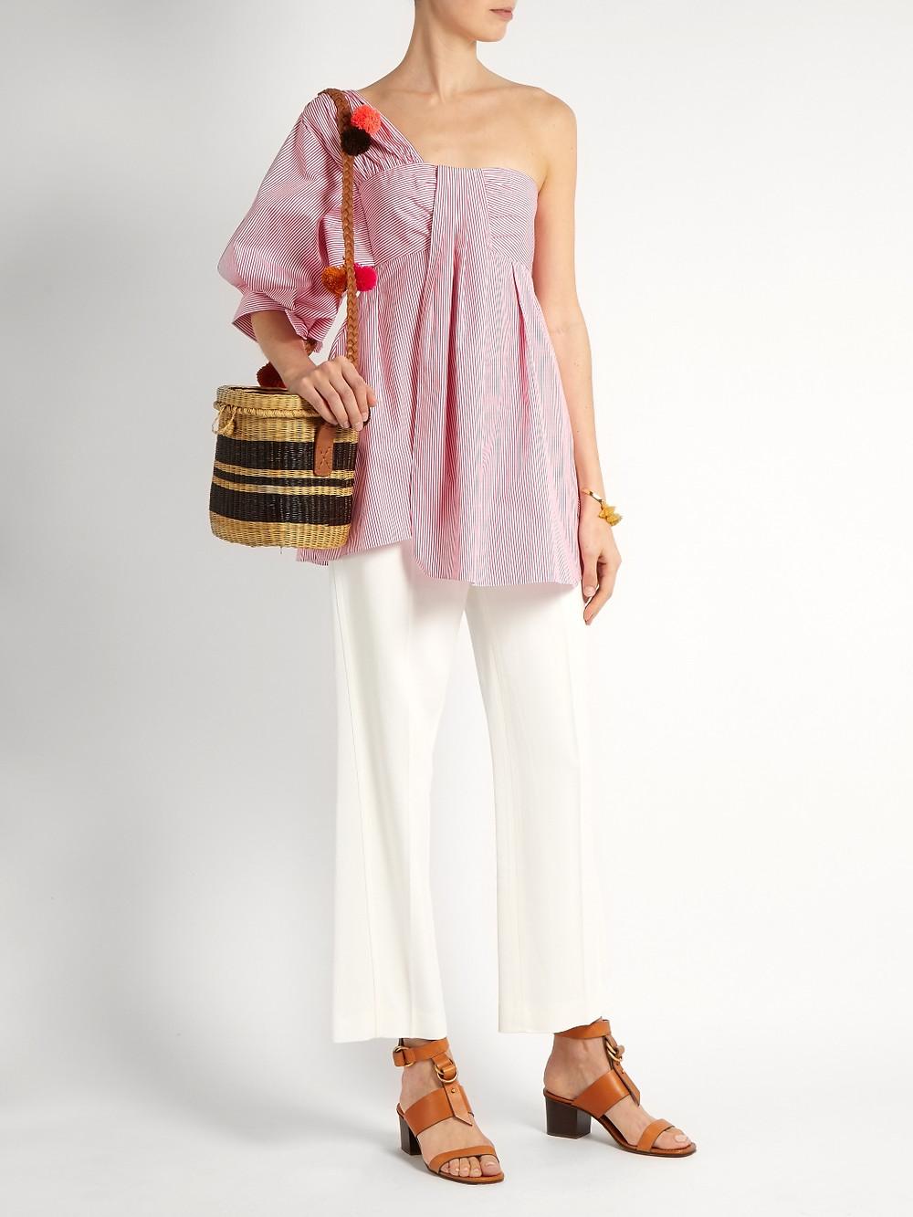 TEIJA  One-shoulder striped cotton-poplin top $477