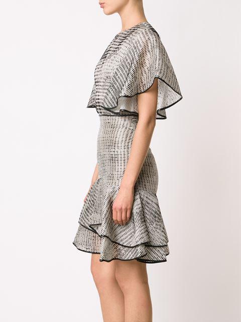 Jason Wu Ruffled Organza Fit-&-Flare Dress with raffia inspired print $2,795