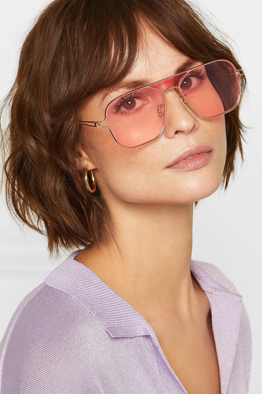 Rejina Pyo + PROJEKT PRODUKT aviator-style rose gold-tone sunglasses $305
