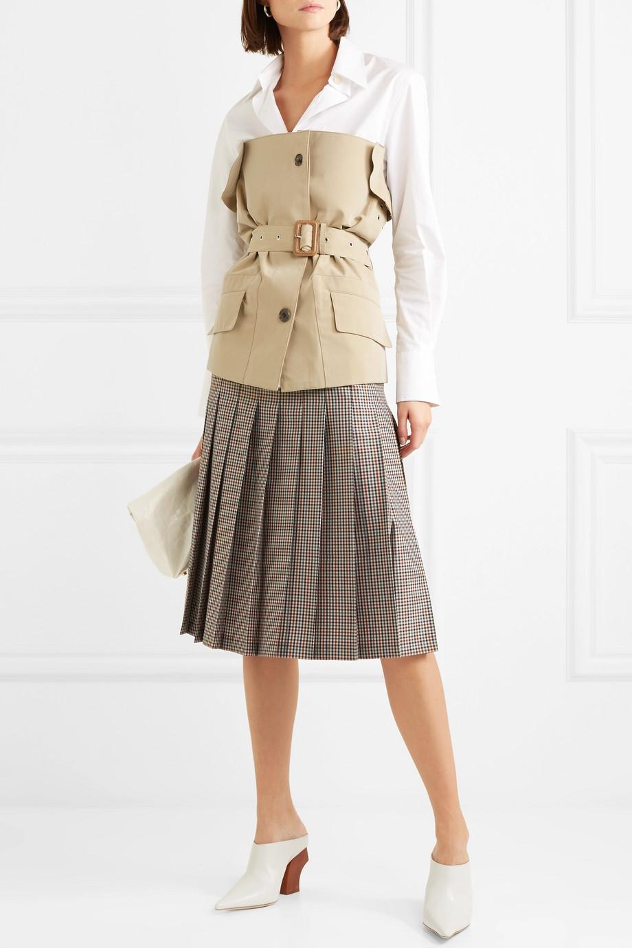 Maison Margiela Checked pleated wool, mohair and silk-blend midi skirt $476