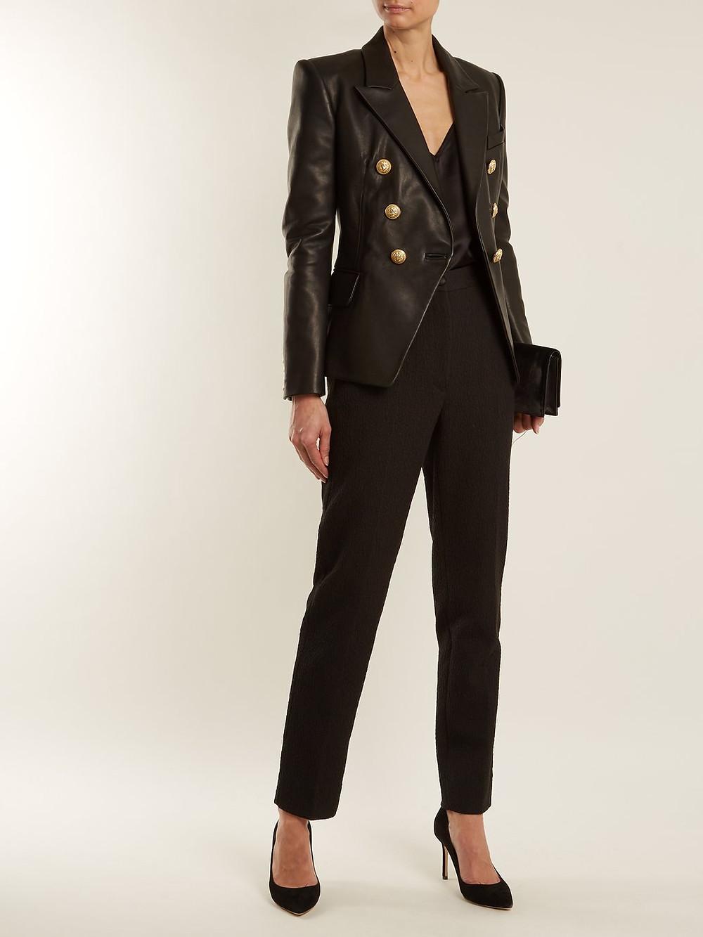 Balmain Double-breasted peak-lapel leather blazer $3,495