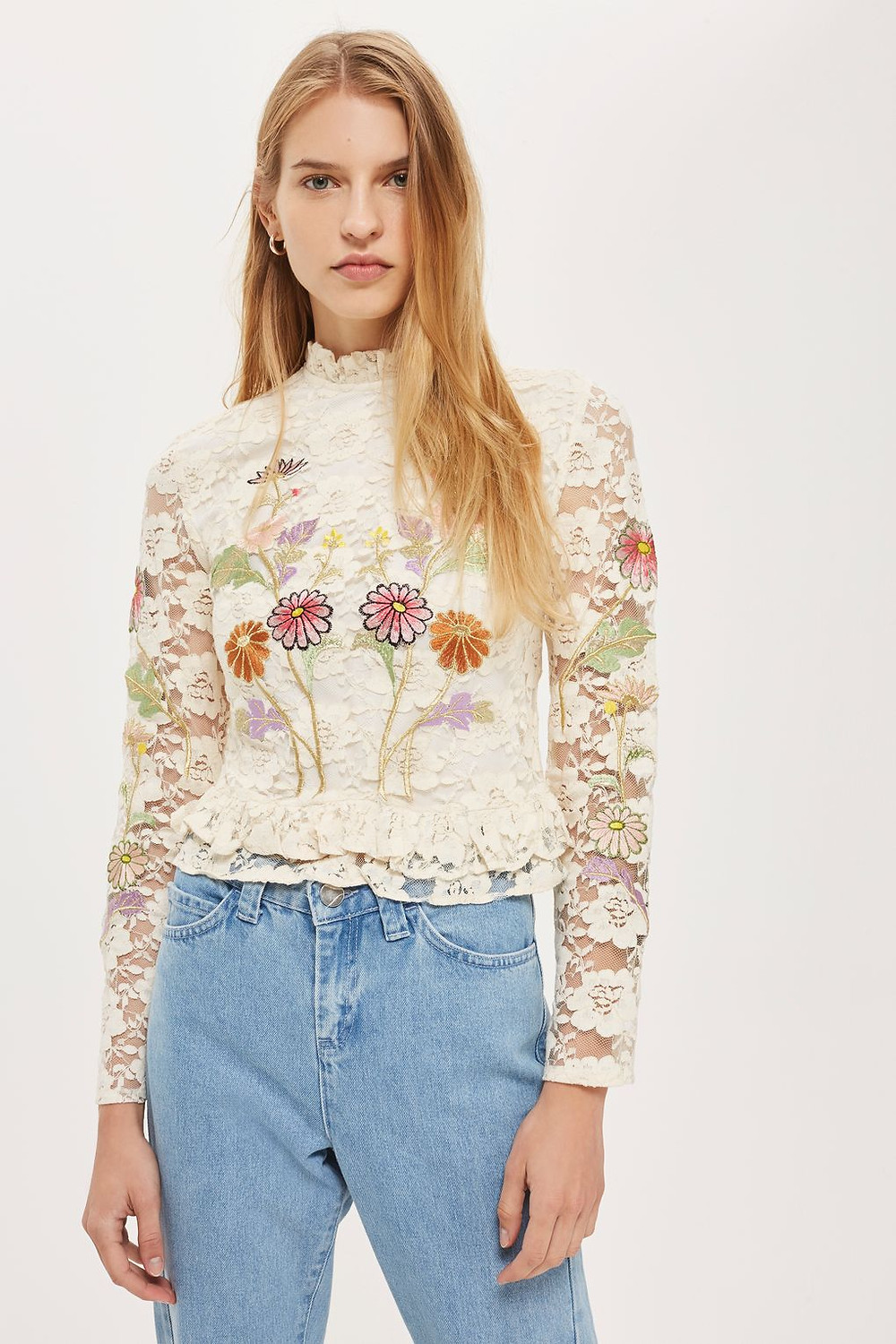 Topshop Lace Embroidered Peplum Top $100