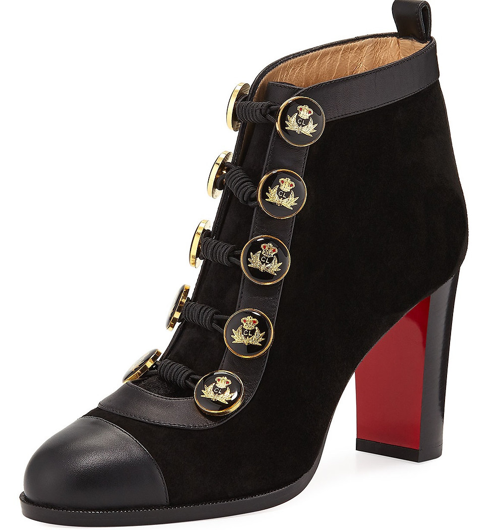 Christian Louboutin Caval Leather/Suede Red Sole Booties with Logo Buttons $1,395