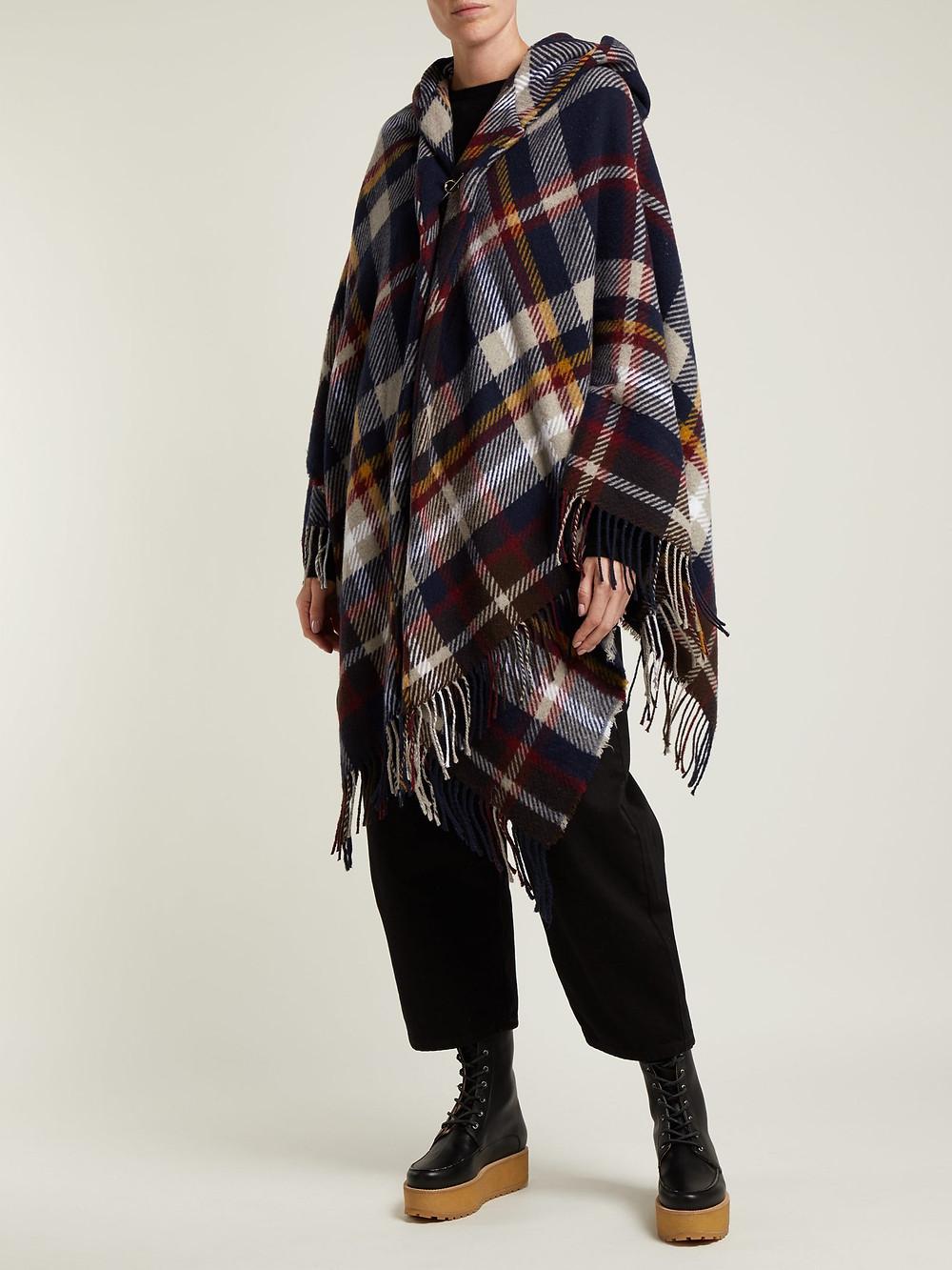 Vivienne Westwood Anglomania Tartan hooded poncho $485
