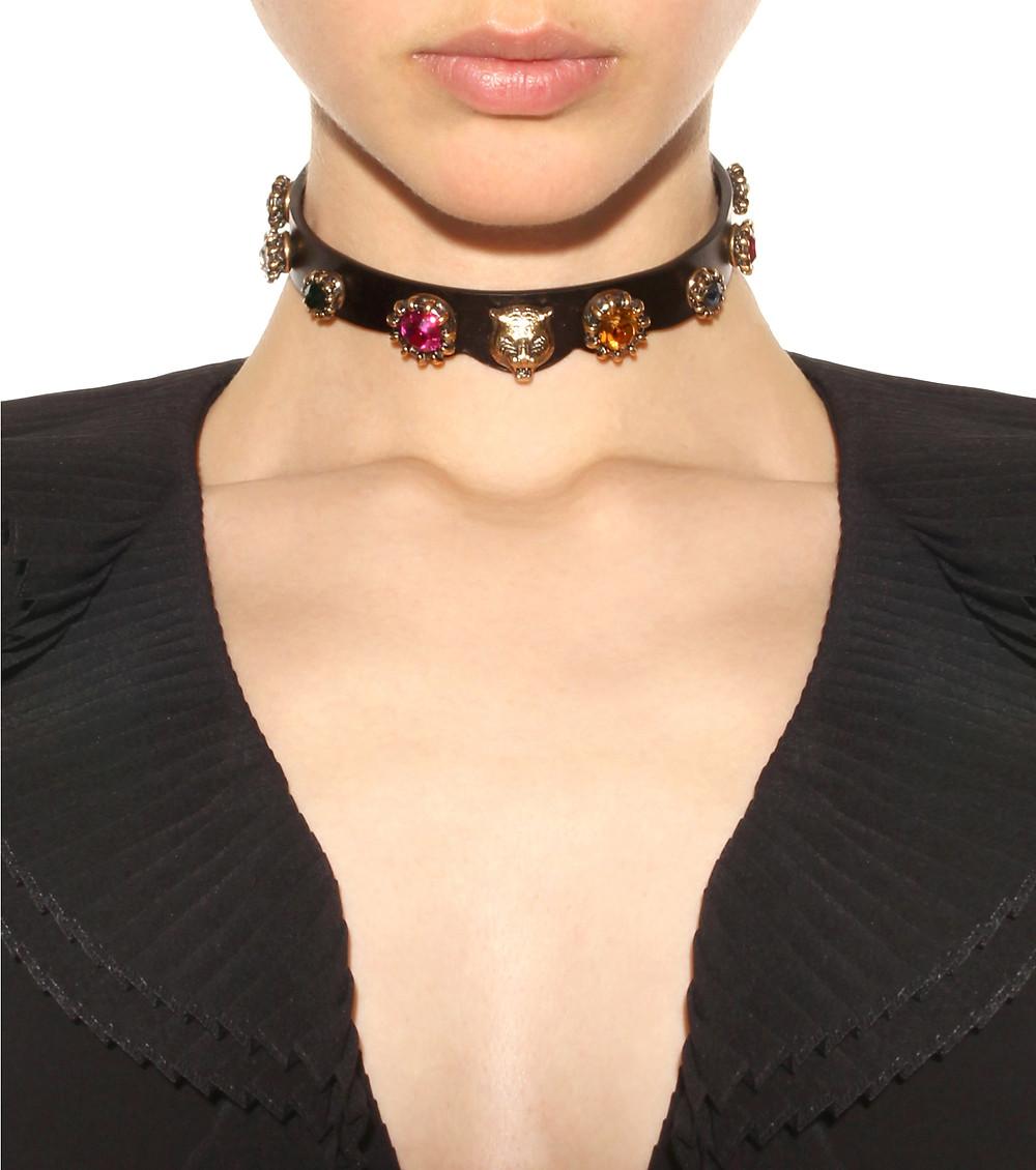 Gucci Embellished leather choker $790
