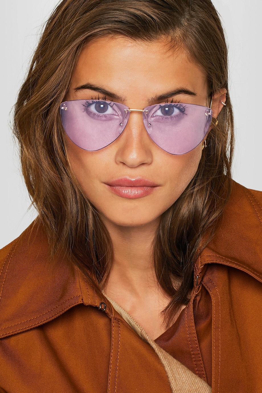 Alexander McQueen Aviator-style gold-tone sunglasses $440