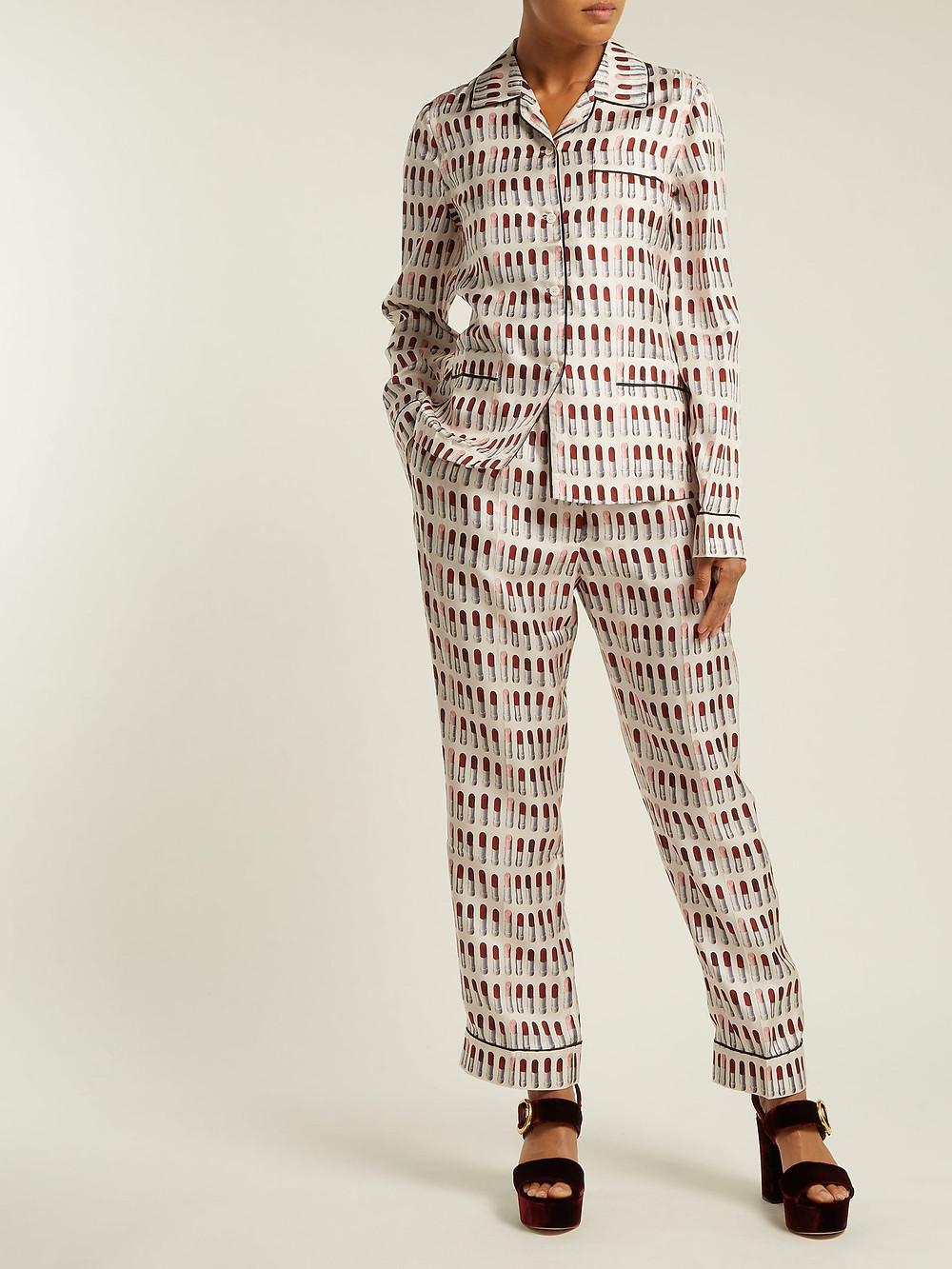Prada Lipstick-print silk pyjama set $1,980
