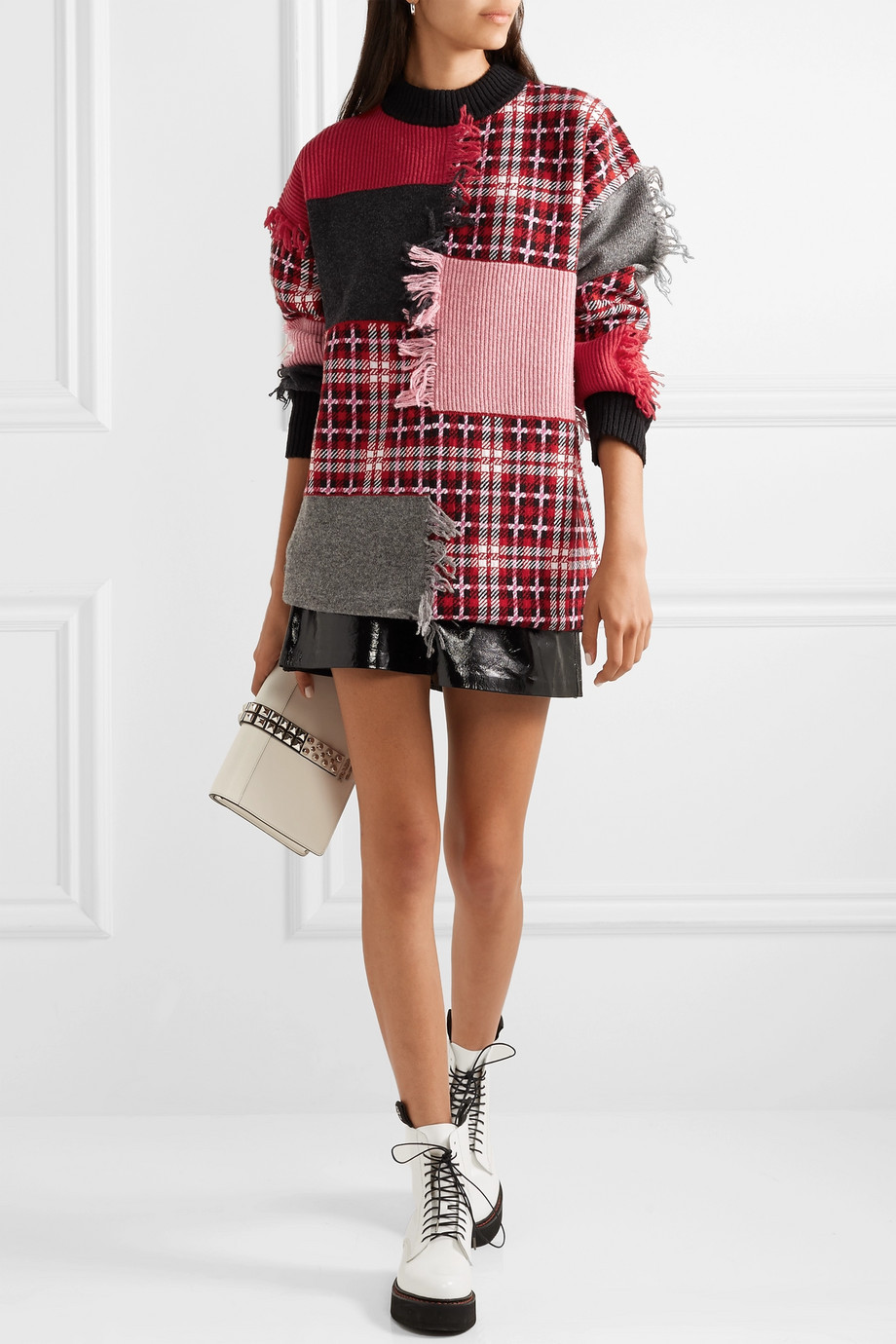 MSGM Fringed patchwork wool-blend sweater $1,200