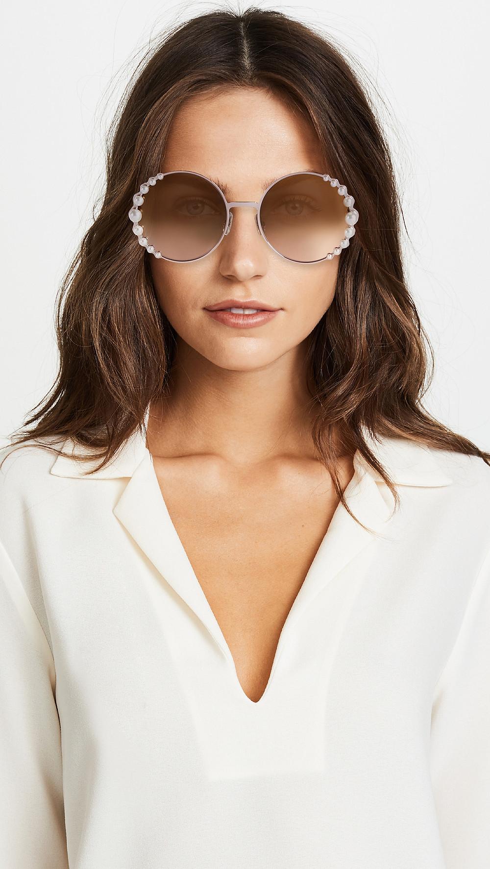 Fendi Round Pearl Frame Sunglasses $540