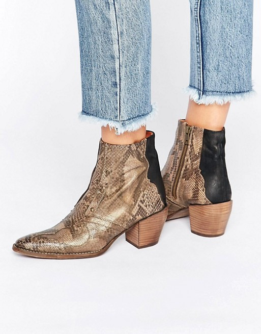 Free People Nevada Thunder Brown Snake Effect Western Ankle Boots $207