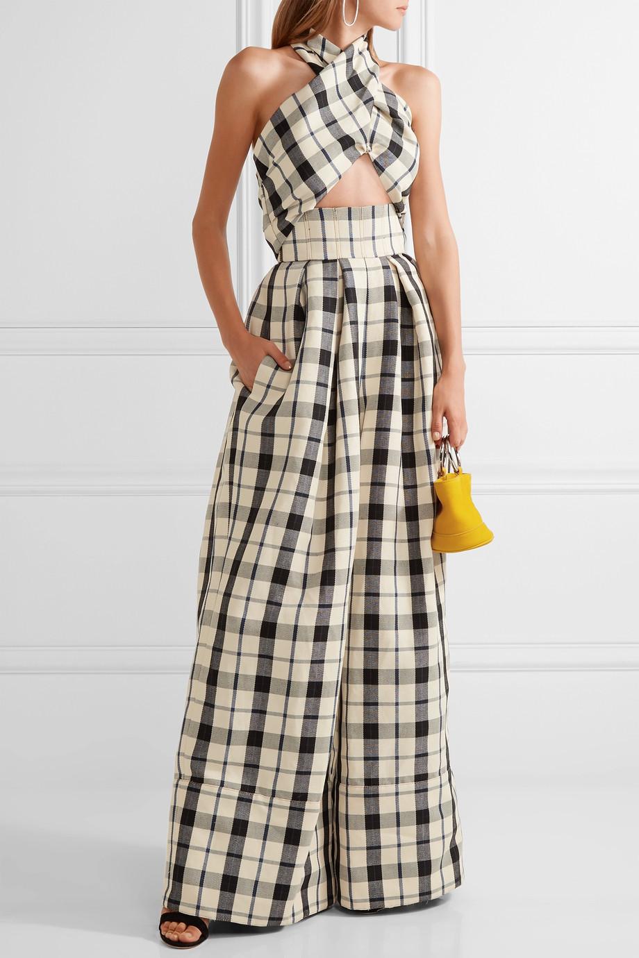 Rosie Assoulin Artichoke Hearts cutout checked cotton and linen-blend jumpsuit $2,295