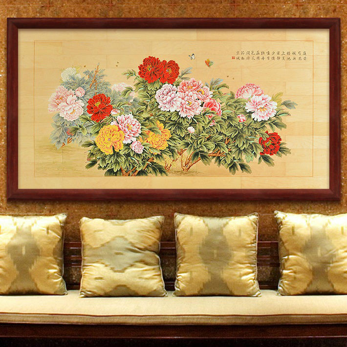 BNQJ Pure Hand painted Traditional Chinese Peony Picture Living Room Wall Sofa Wall Art $6,200 - available at Ali Express