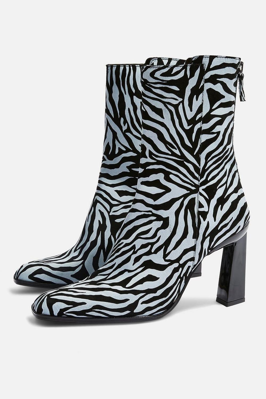 Topshop Hugo Zebra Print Suede Boots $170