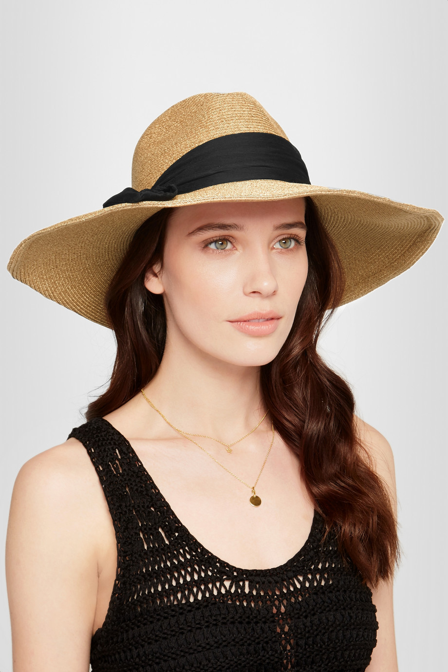 Eugenia Kim Cassidy silk chiffon-trimmed straw sunhat $395