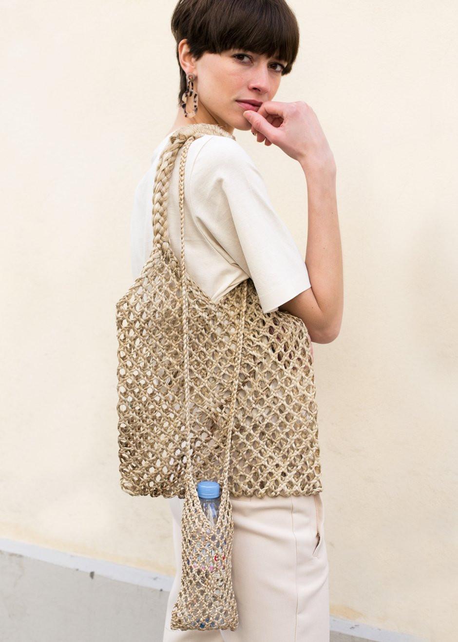 Straw Braided Net Bag & Bottle Holder $58