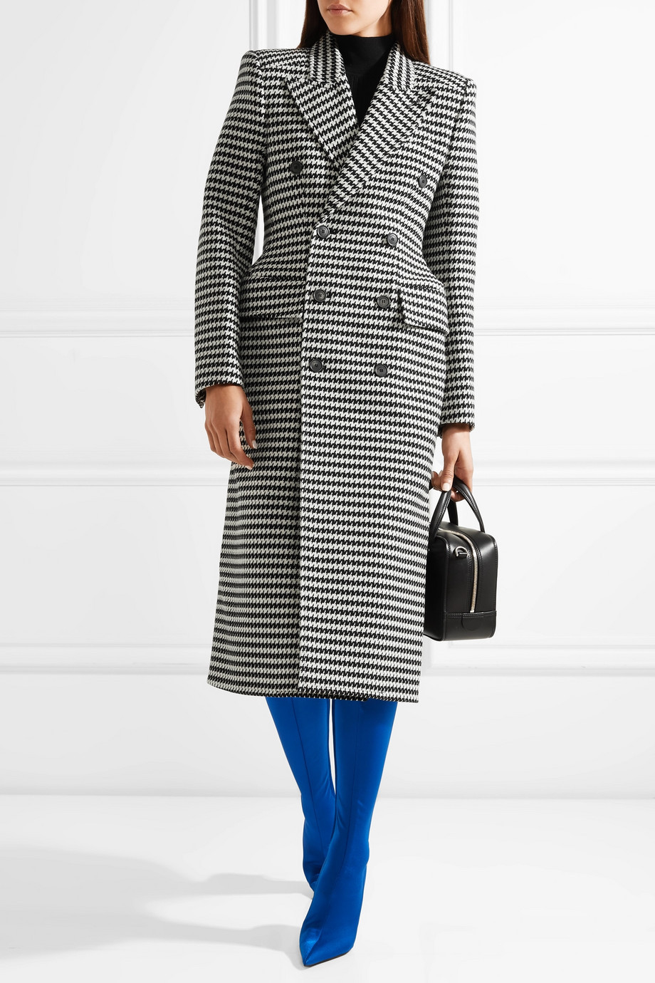 Balenciaga Double-breasted houndstooth wool-blend coat with internal shoulder pads $3,400