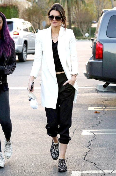 Kendall Jenner sporting sweatpants with white blazer