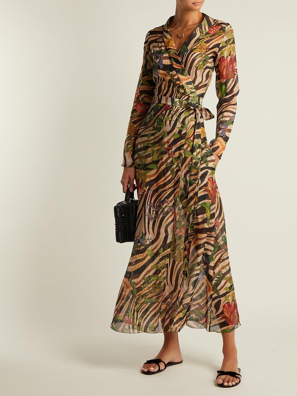 Adriana Iglesias Beverly zebra-print silk chiffon dress $1,096