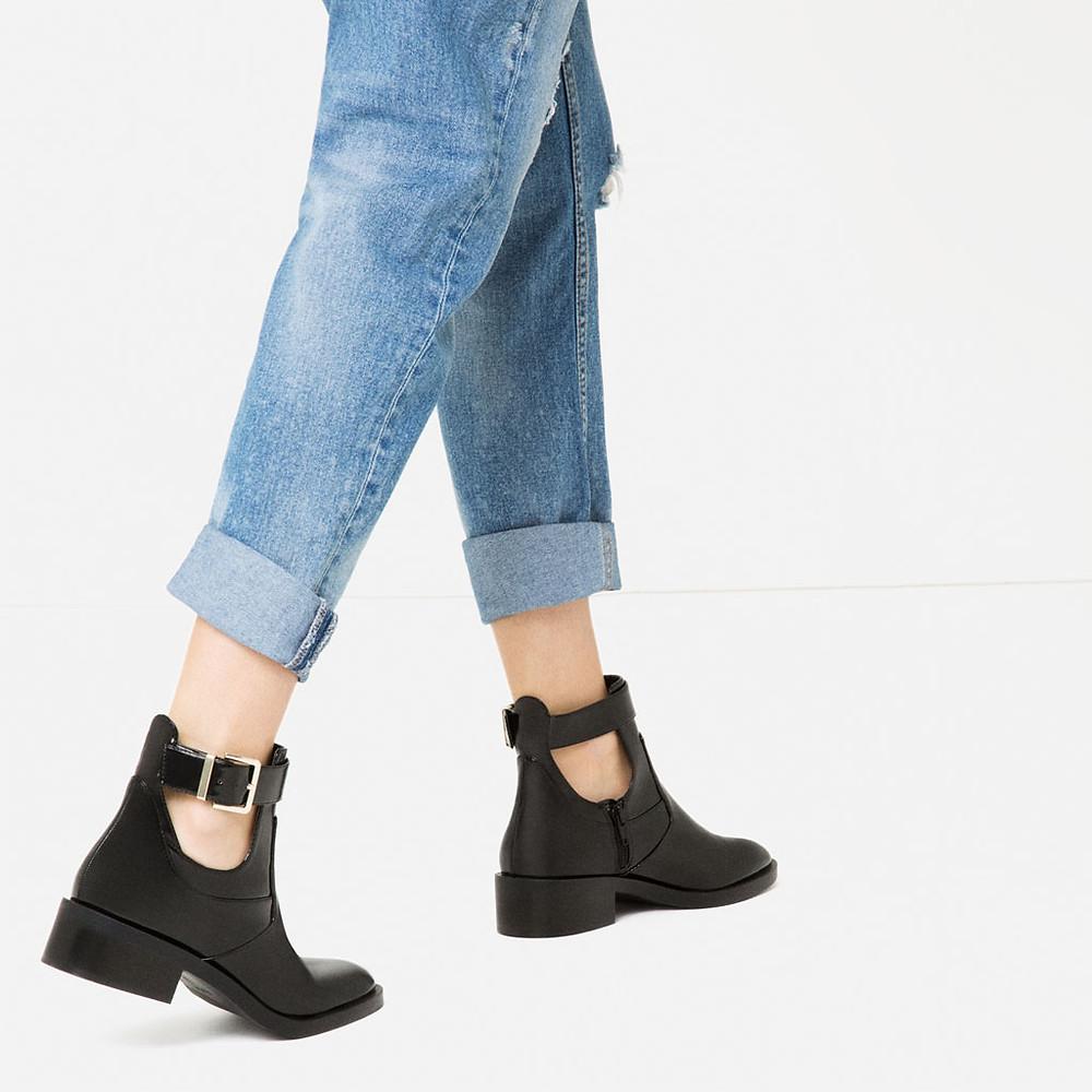 Zara Flat Open Ankle Boots $49.90