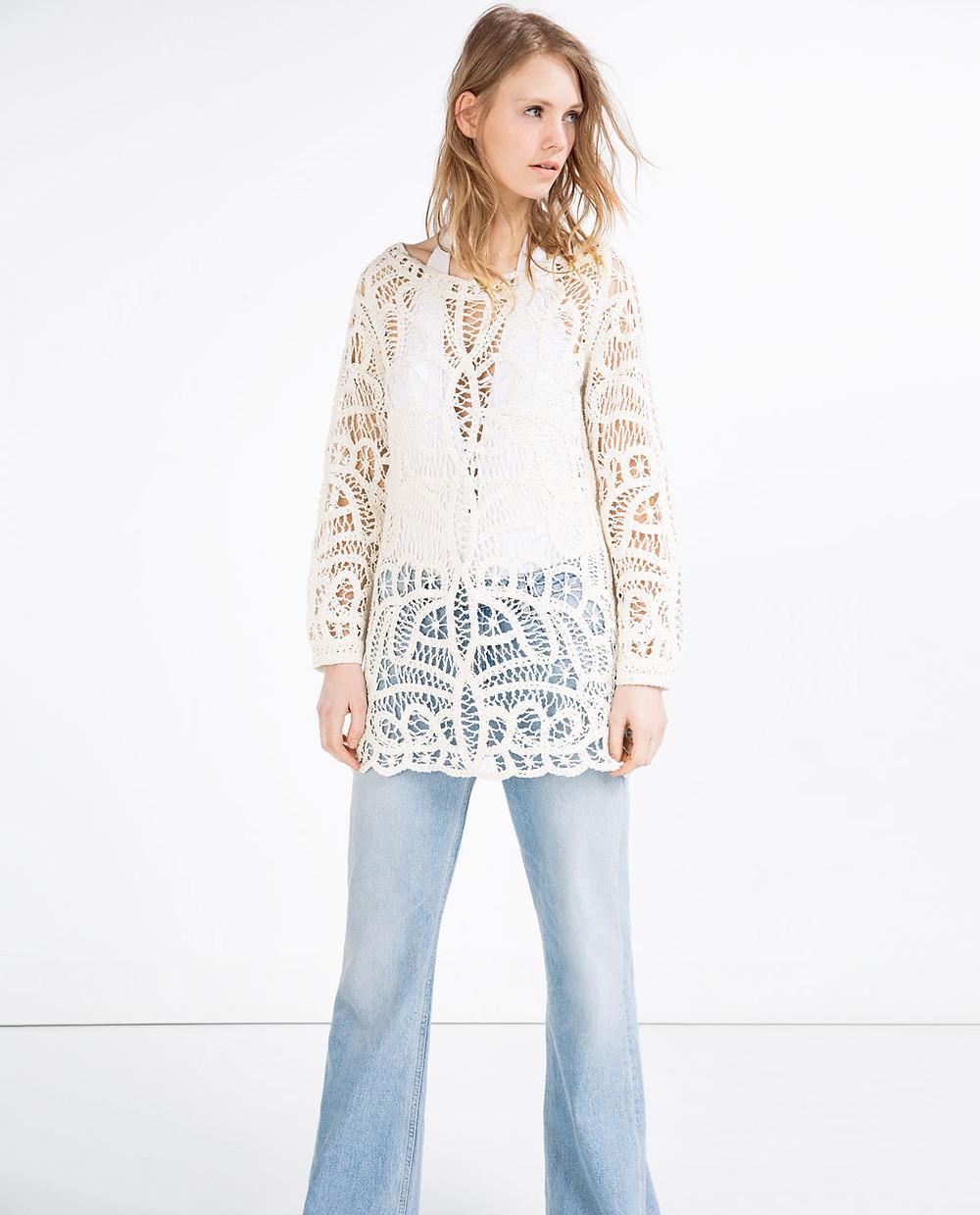 Zara macramé dress with flared sleeves now $39.99