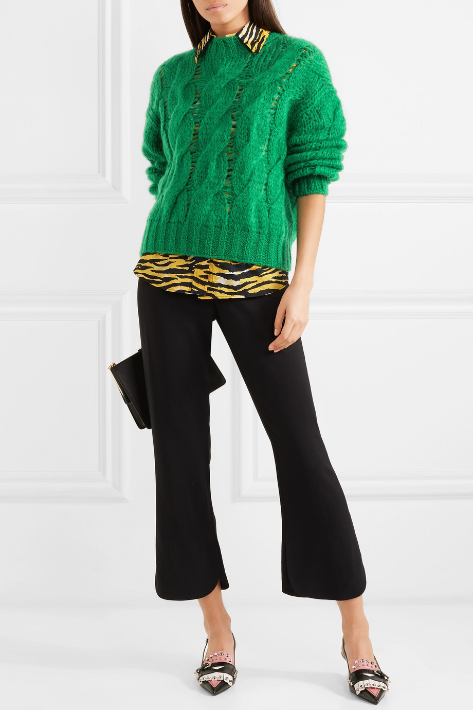 Prada Cable-knit mohair-blend sweater $710
