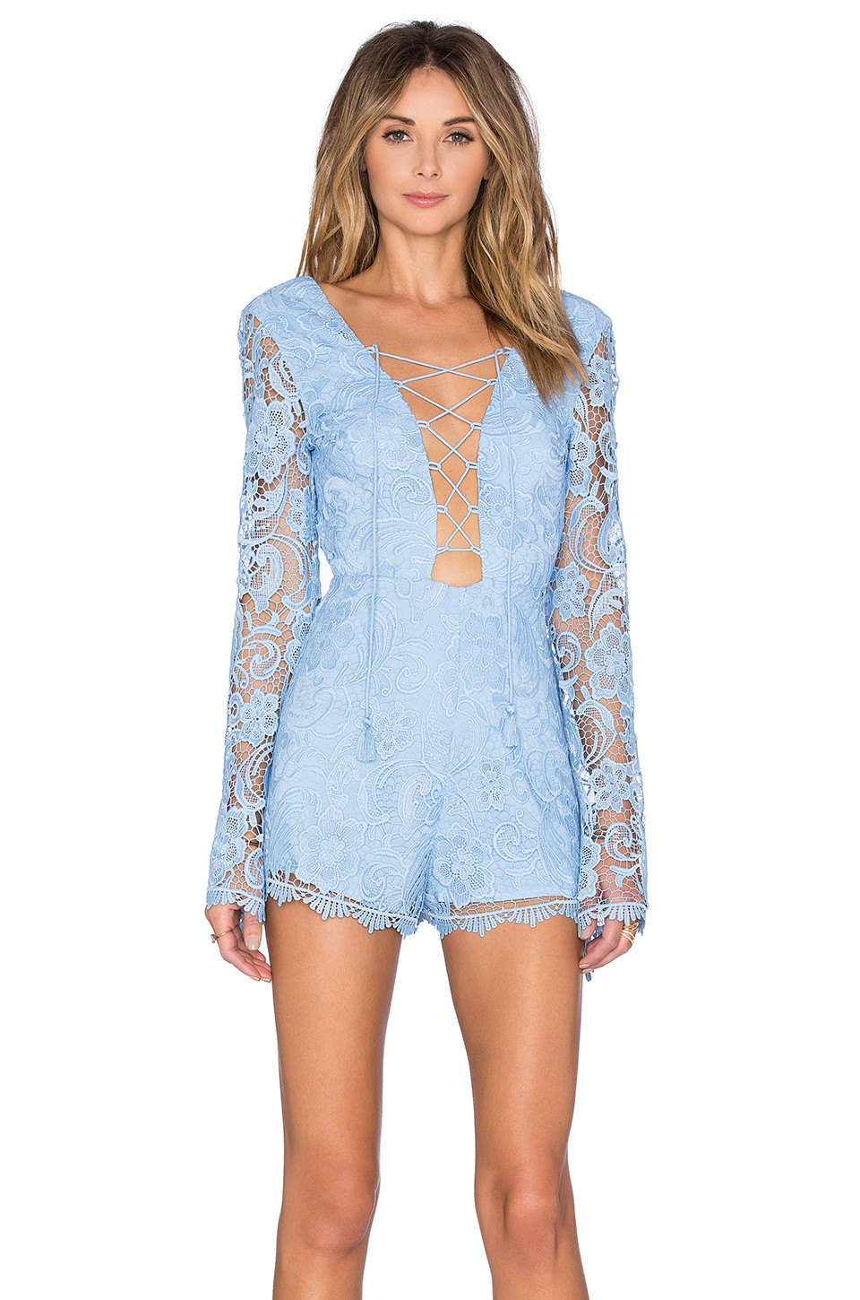 The Jetset Diaries lace-up lace romper $219