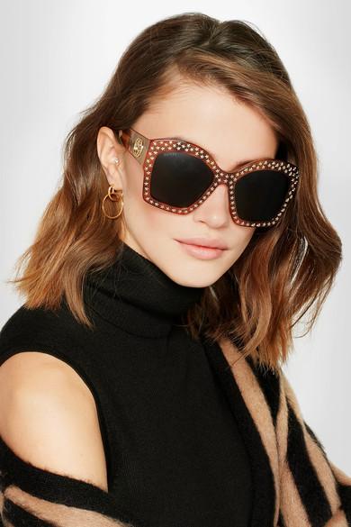Gucci Studded square-frame acetate sunglasses $700