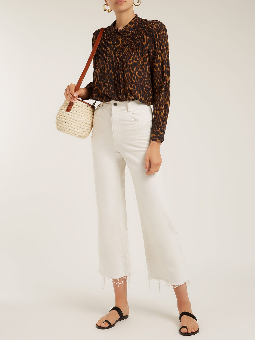 Masscob Leopard-print ruffled-collar blouse $354