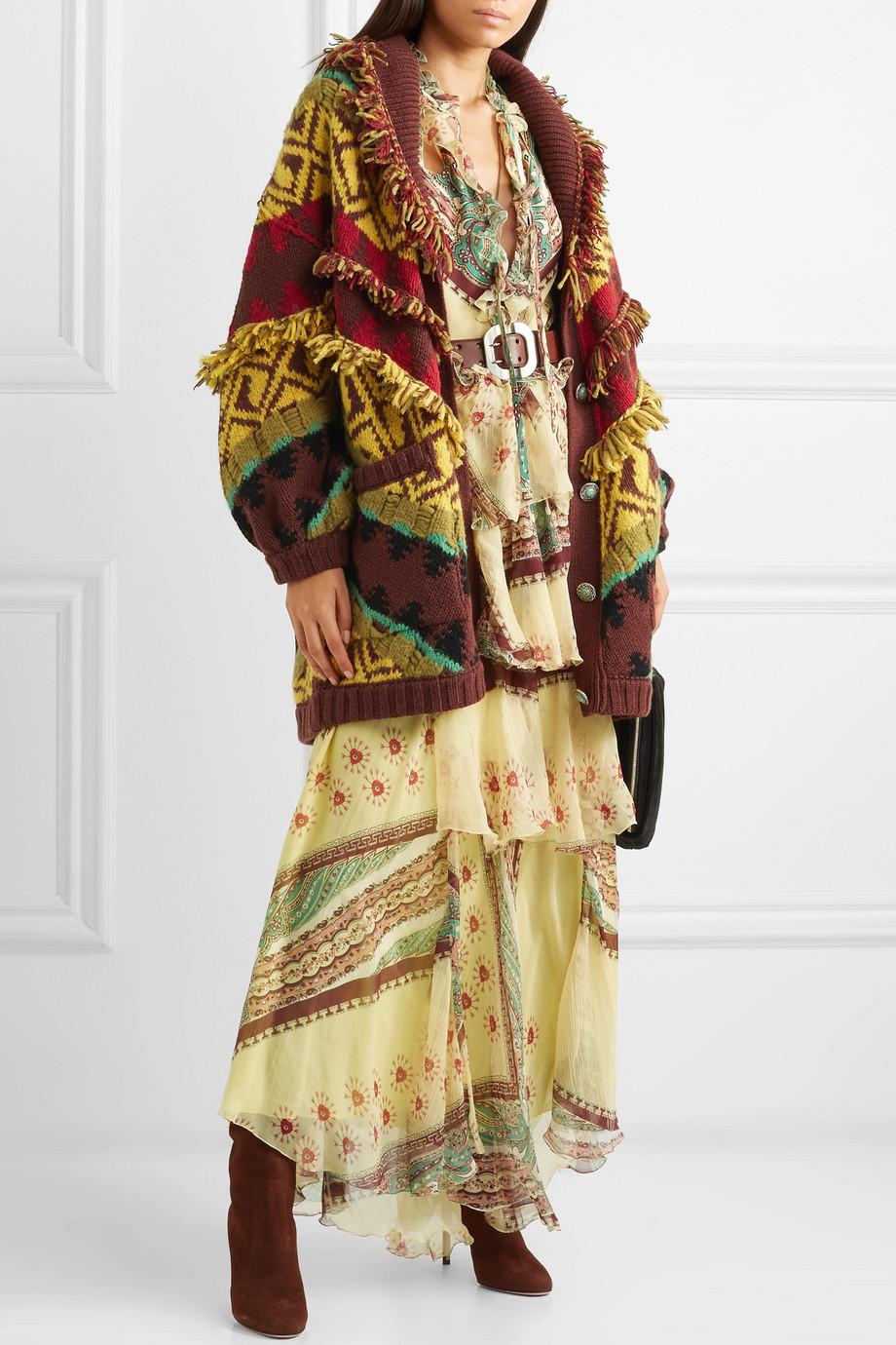 Etro Oversized fringed wool-blend cardigan $1,284