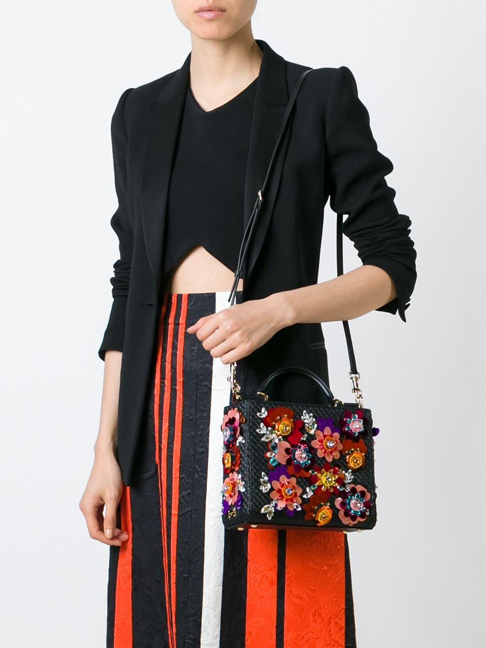 Dolce & Gabbana Black and multicolored raffia and leather 'Sicily' shopping tote $3,495
