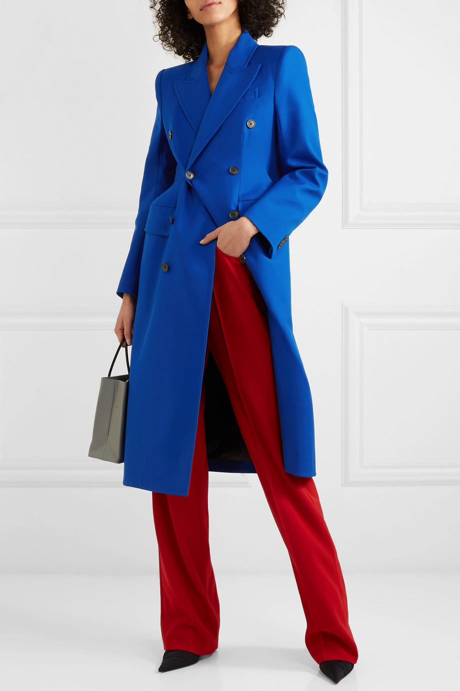 Balenciaga Hourglass double-breasted wool-blend coat with internal shoulder pads $3,200