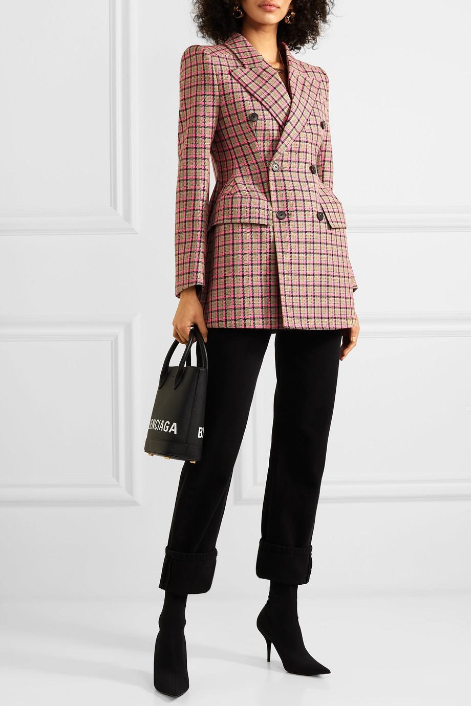 Balenciaga Hourglass checked wool blazer with internal shoulder pads $2,990