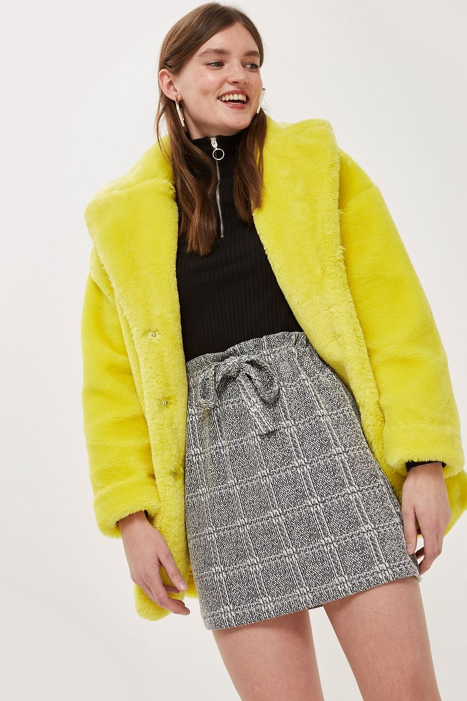 Topshop Textured Check Paperbag Mini Skirt $40