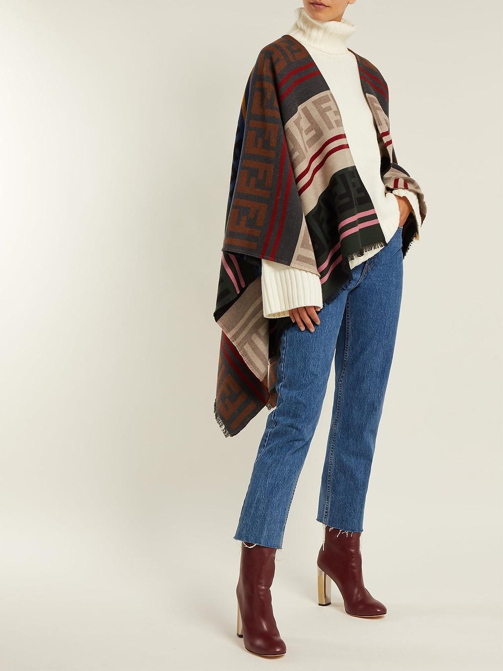 Fendi FF logo wool-blend poncho $950