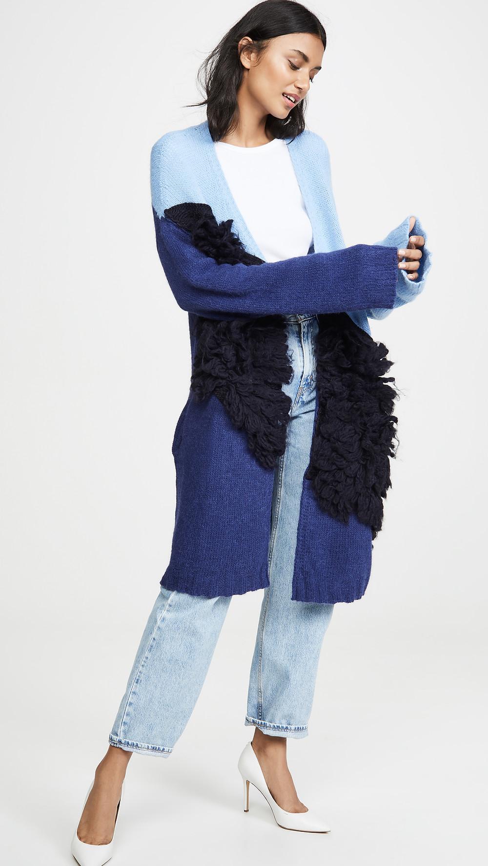 Stella Jean Colorblock Oversized Alpaca Cardigan $845