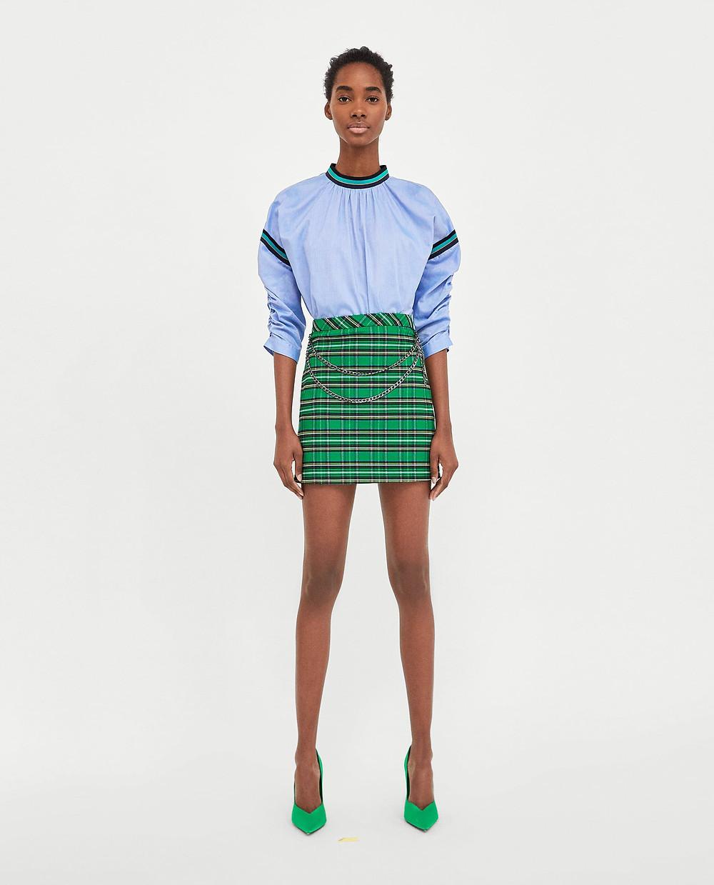 Zara Check Skirt with chain $19.99